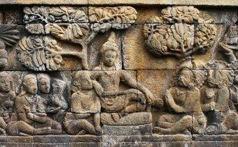 Indonézia117 Udvari jelenet Borobudurból